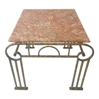 Pink Marble and Iron Art Deco Side Table For Sale
