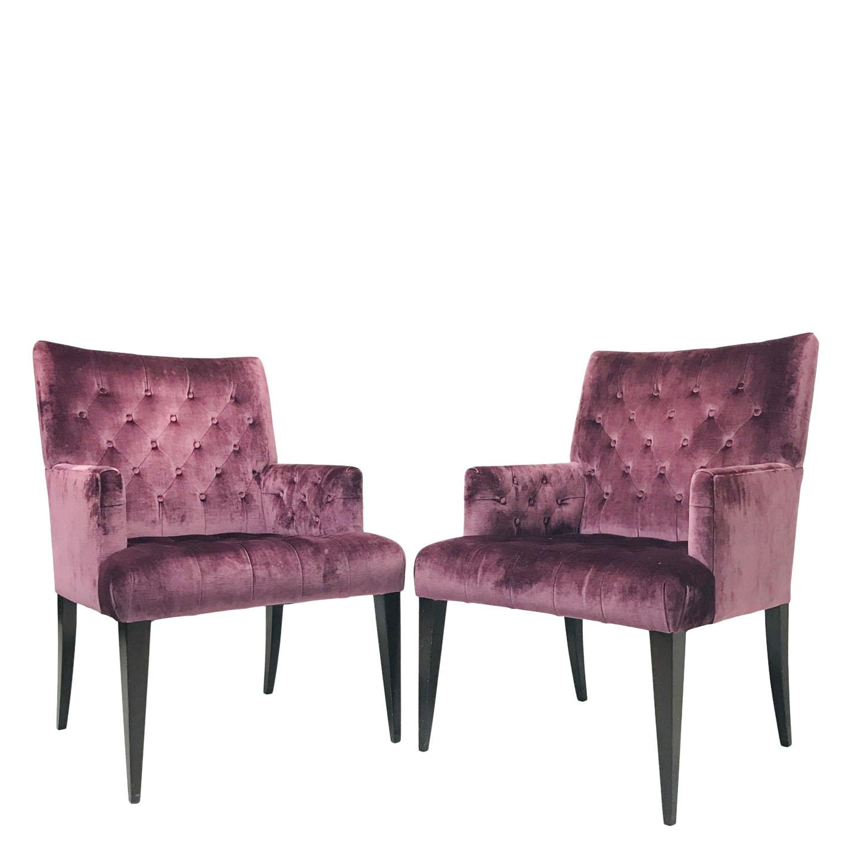 Pair of Purple Velvet Tufted Armchairs | Chairish