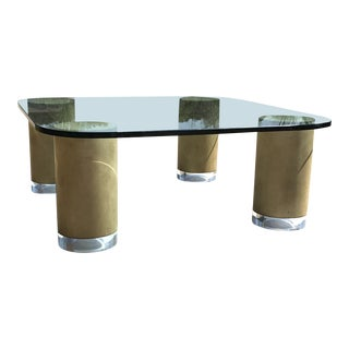 Mid Century Modern Faux Finish and Lucite Cylinder Column Square Coffee Table For Sale