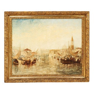 Vintage Italian Oil Painting of Venice For Sale