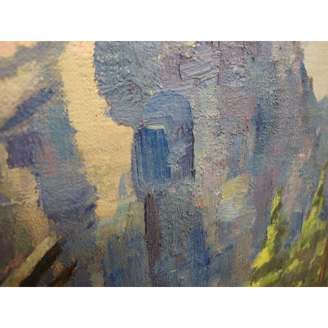 Lodge Large Midcentury Mountain Landscape Oil Painting For Sale - Image 3 of 6