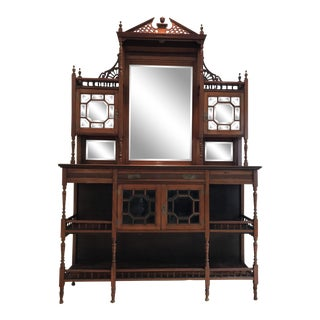 19th Century Country Style Wooden Sideboard with Mirror