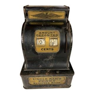 1930s Uncle Sam's Penny Register Metal Savings Bank For Sale