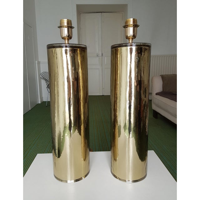 Italian Gold Murano Glass Table Lamps, Mid Century Modern, Cenedese Style - a Pair For Sale - Image 3 of 10