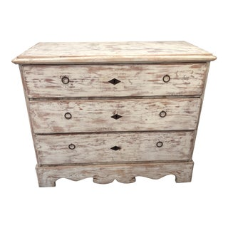 Swedish Distressed White Dresser For Sale