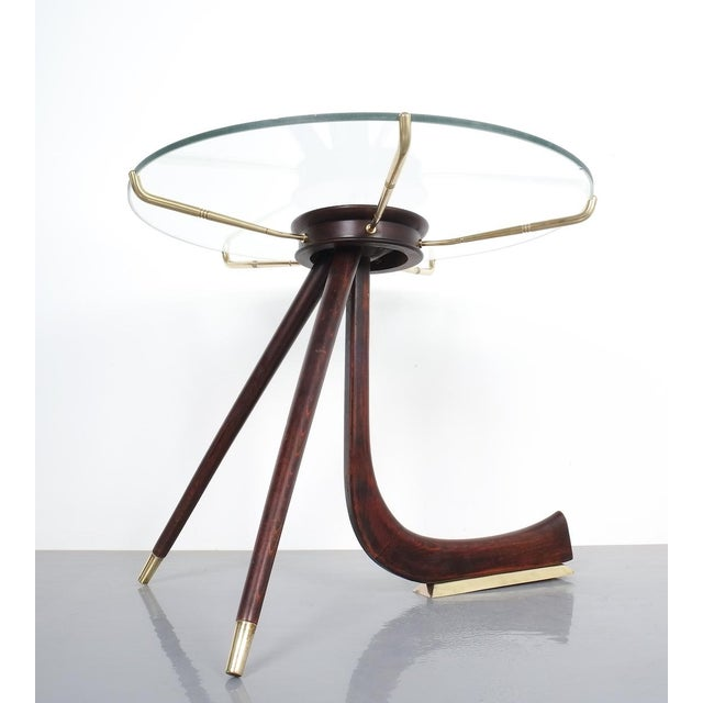 Brevettato Wood Brass Coffee or Side Table, Italy 1955 For Sale - Image 4 of 12