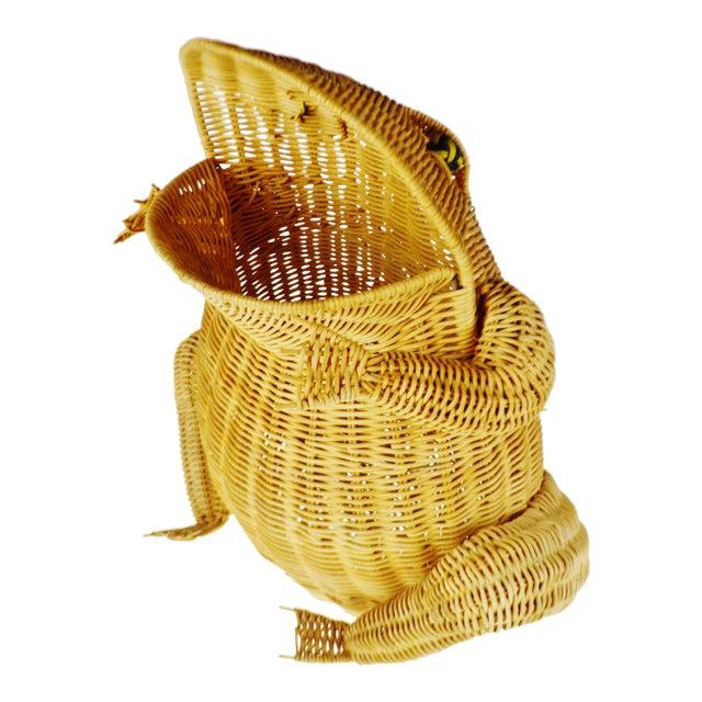 Vintage Natural Wicker Frog Planter Basket For Sale