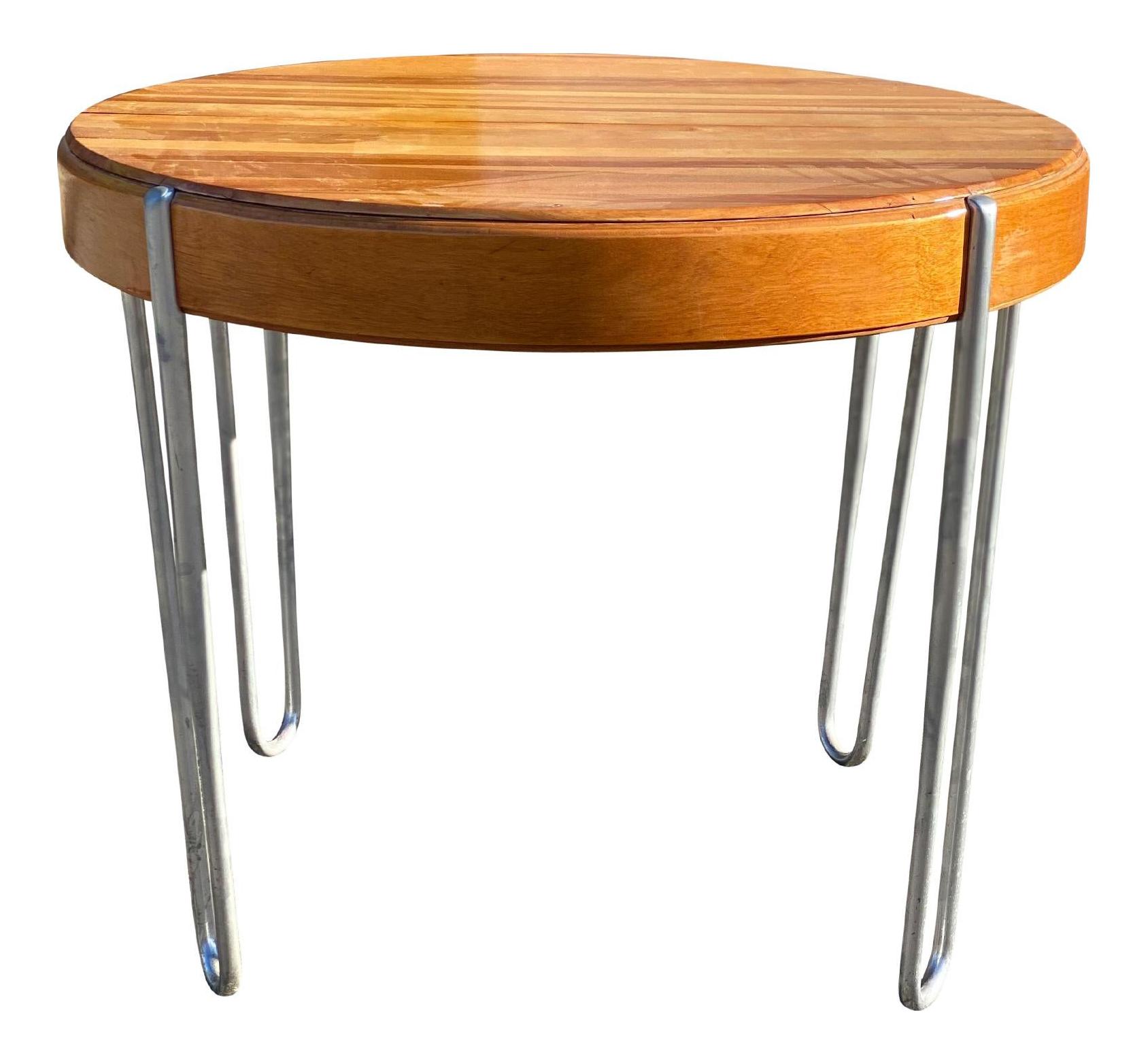 Vintage Mid Century Modern Round Wood Dining Pub Table W Hairpin Legs Chairish