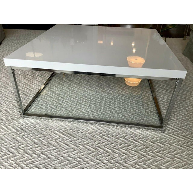 Early 21st Century White Lacquer and Chrome Coffee Table With Tempered Glass Bottom Shelf For Sale - Image 5 of 10