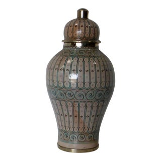 Moroccan Painted Ceramic Jar For Sale