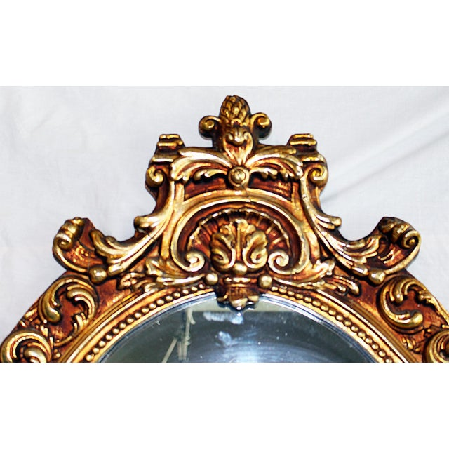Baroque Oval Baroque Gilt Gold Mirror For Sale - Image 3 of 7