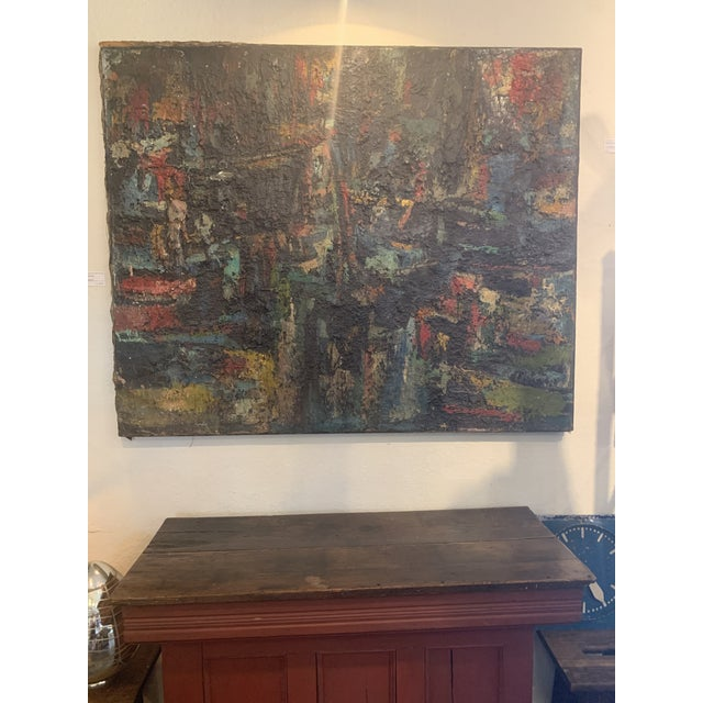"1960s 1960s Vintage Joo-Yon Ohm Ceerderberg ""Midnight Fire"" Large Abstract Painting For Sale - Image 5 of 9"