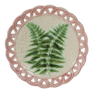 19th Majolica Fern Reticulated Plate Sarreguemines For Sale