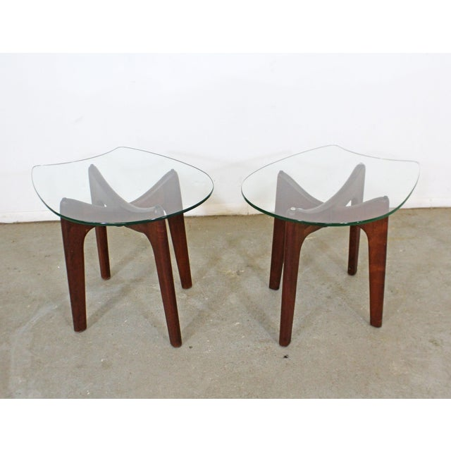 Pair of Mid-Century Danish Modern Adrian Pearsall Stingray Glass Top End Tables For Sale - Image 13 of 13
