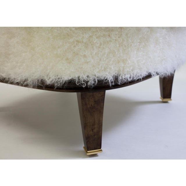 Shearling Covered Shaped Back Chair With Wood Base and Legs With Metal Cap Feet For Sale In New York - Image 6 of 11