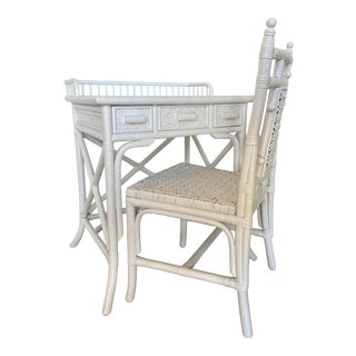 Vintage White Wicker Desk & Chair For Sale