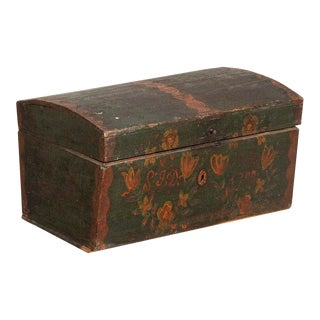 1798 Antique Original Hand Painted Green Trunk With Flowers For Sale