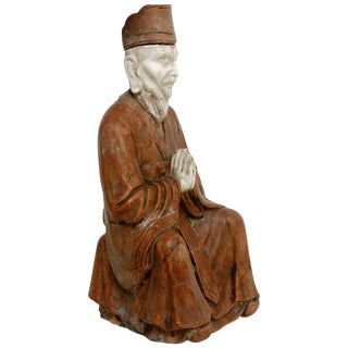 Asian Carved Soapstone Praying Deity