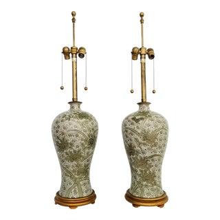 Celadon Green Lamps - a Pair - Japanese Kutani Porcelain- Signed - Marbro Mid Century Modern Palm Beach Boho Chic Art Deco For Sale