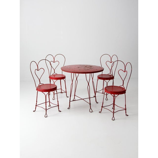 Antique Ice Cream Parlor Table Set For Sale - Image 11 of 11