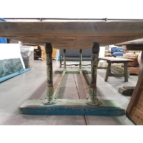 French Large French Industrial Planed Oak Top and Iron Trestle Base Table For Sale - Image 3 of 4