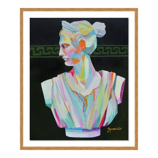 Greek Bust II by Jennifer Sparacino in Gold Framed Paper, Medium Art Print For Sale