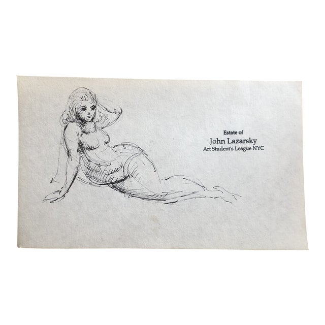 Original Vintage Female Nude Ink Drawing John Lazarsky Art Students League Nyc For Sale