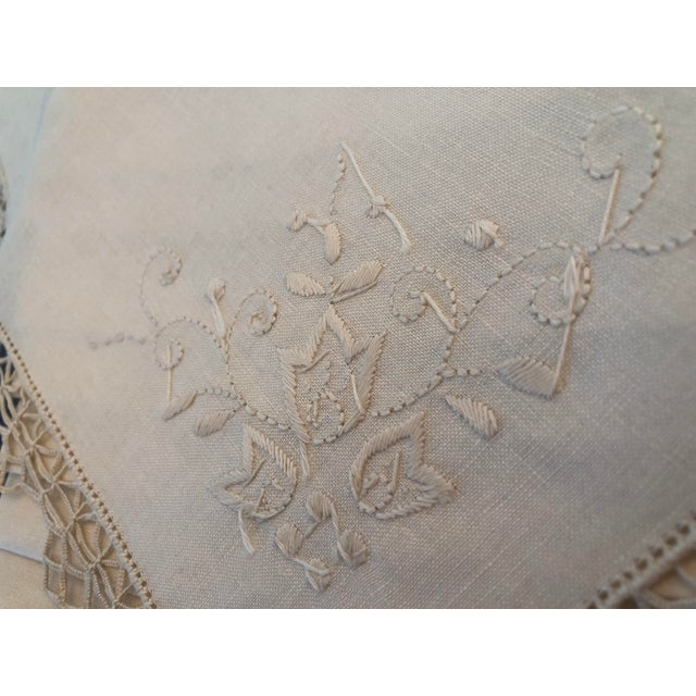 Vintage Italian Linen Napkins Hand-Embroidered Reticella - Set of 12 For Sale - Image 11 of 13