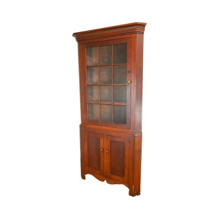 Antique 19th Century Bucks County Pennsylvania Cherry Corner Cabinet For Sale