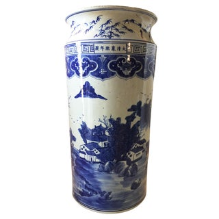 "Old Chinoiserie B&w Umbrella Stand /Vase 21.25""h For Sale"