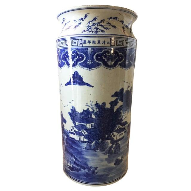 Old Chinoiserie Bw Umbrella Stand Vase 2125h Chairish