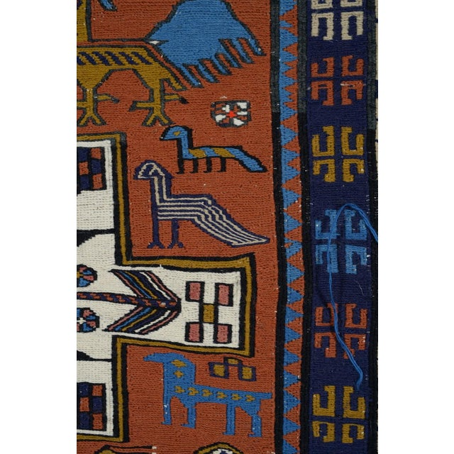 1920s Antique Handmade Turkish Rug W/ Birds Motif - 4x5 Ft For Sale - Image 5 of 10