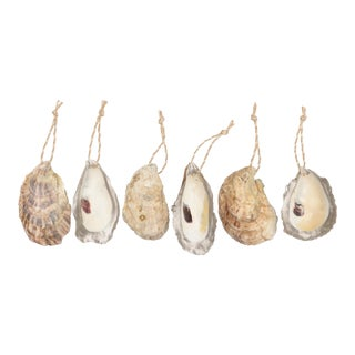 Silver Edged Oyster Shell Ornaments, Set of 6 For Sale