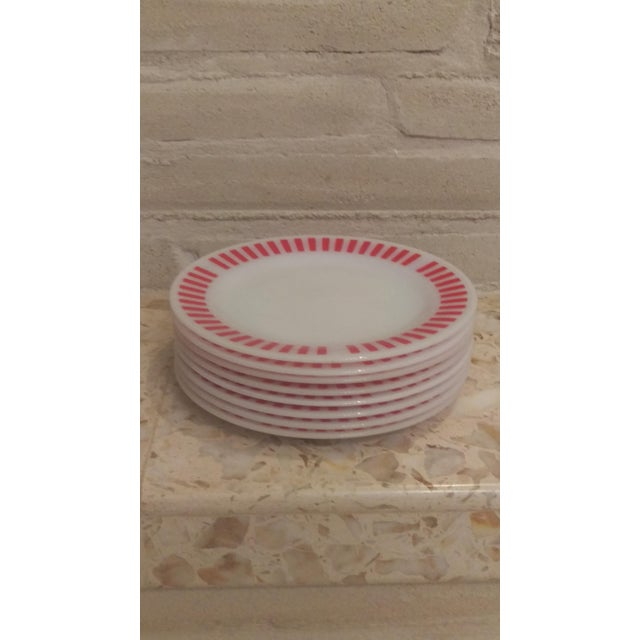 """A very cheery set of 8 Hazel Atlas Red Candy Stripe dinner plates in the rare 9"""" size. These plates are in excellent..."""