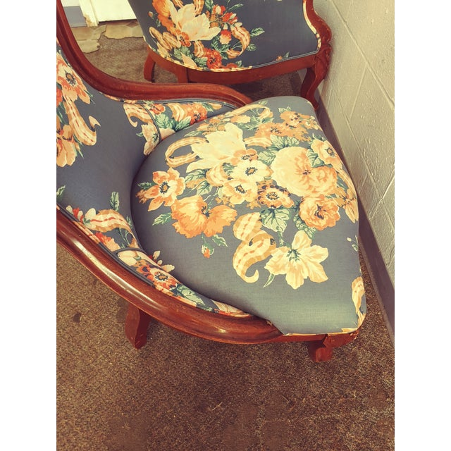 Antique Slipper Chairs & Ottoman, 3 Pieces For Sale In Chicago - Image 6 of 10