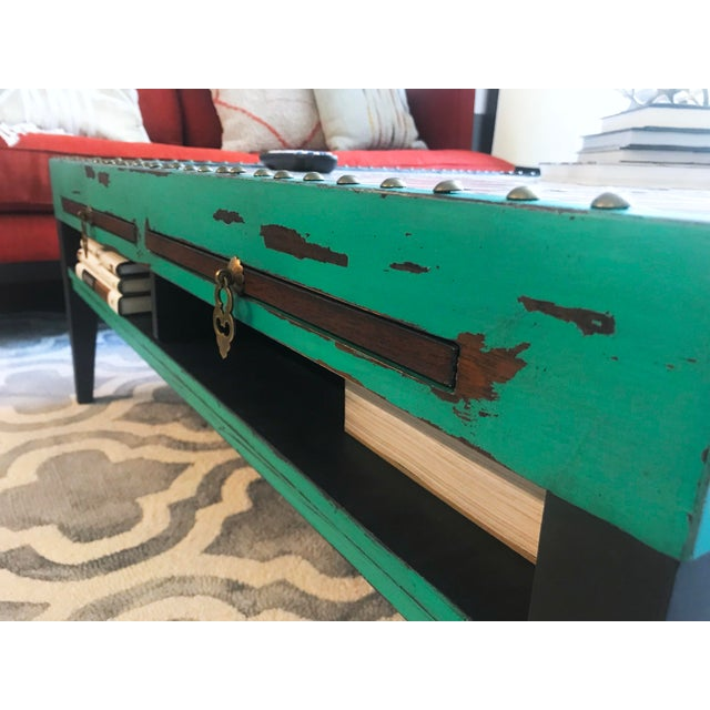 Turquoise Tile Top Coffee Table For Sale - Image 8 of 13