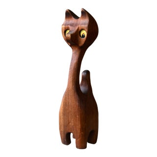 1970s Modern Witco Style Carved Wooden Cat Sculpture