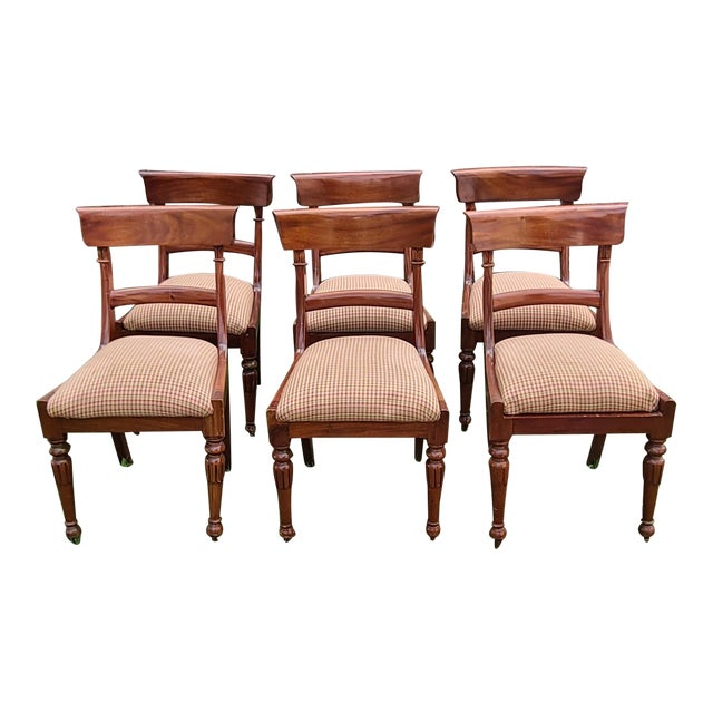20th Century Reproduction Mahogany Empire Style Dining Room Chairs - Set of 6 For Sale