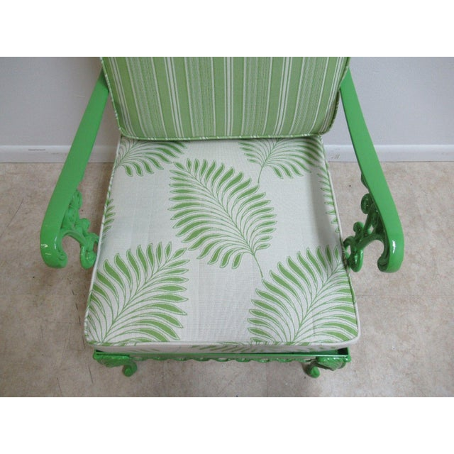 Vintage Green Aluminum Chippendale Ball & Claw Patio Chair For Sale In Philadelphia - Image 6 of 11