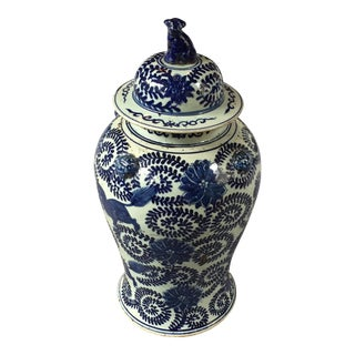 Blue and White Ginger Jar With Foo Dog Lid For Sale