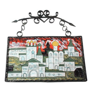 Vintage Russian Enamel on Copper Cityscape For Sale