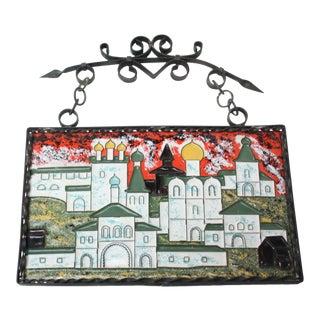 Vintage Russian Enamel on Copper Cityscape For Sale
