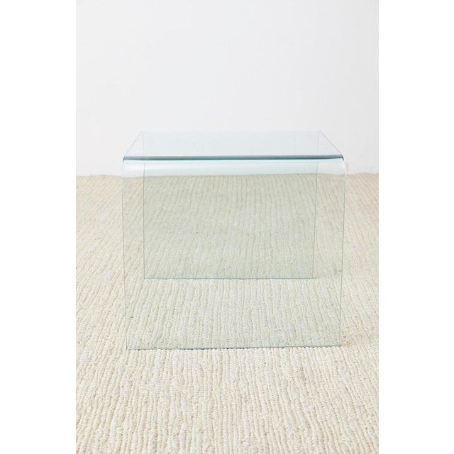 Pair of Angelo Cortesi Glass Waterfall Nesting Drink Tables For Sale - Image 11 of 13