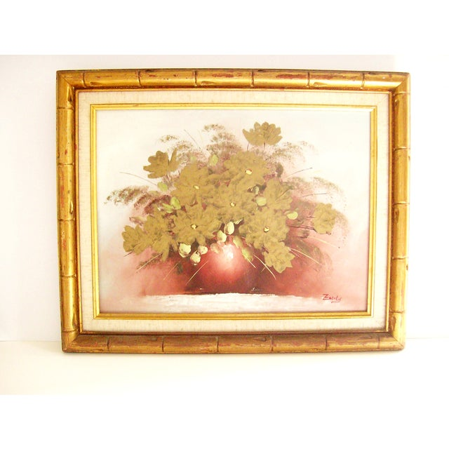 Original Floral Painting with Gold Bamboo Frame - Image 2 of 7