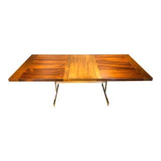 Mid Century Modern Milo Baughman Rosewood and Chrome Floating Top Dining Table For Sale