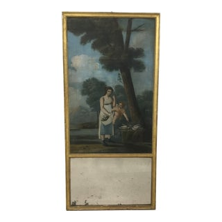"""18th Century French Trumeau Mirror With """"Amour Conjugal"""" Painting For Sale"""