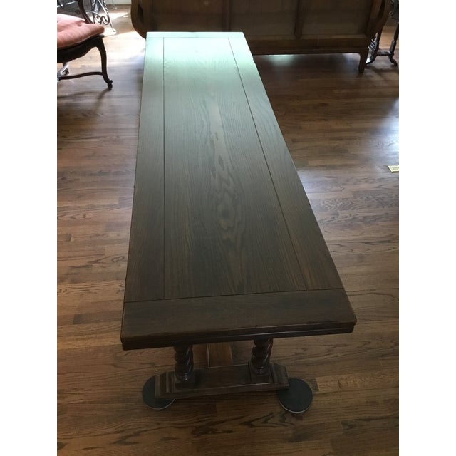 Ethan Allen Jacobean Barley Twist Expanding Banquet Dining Room Trestle Table For Sale In Chicago - Image 6 of 9
