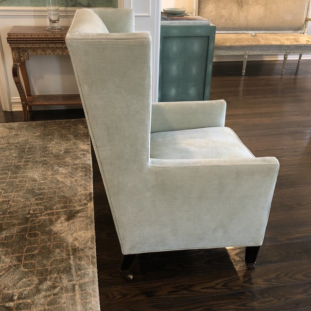 Two silk, corduroy celadon and beige wing-backed dining chairs, custom made by Windsor Smith