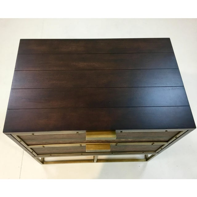 Modern Currey & Co. Wood, Leather, and Brass Holden Nightstands Pair For Sale - Image 3 of 6