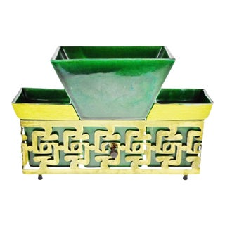 Mid Century Asian Style Pottery Planter Tv Lamp For Sale